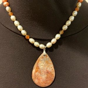Peach/Cream Pearl With Crazy Lace Agate Necklace.